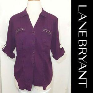 Lane Bryant   Purple Button up Top